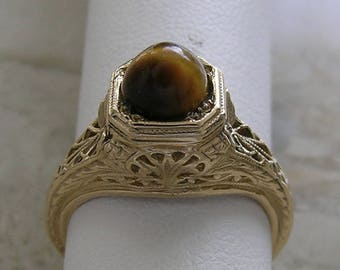 14K Gold Minimalist Filigree Ring Antique Style Cabochon Tiger Eye Unique