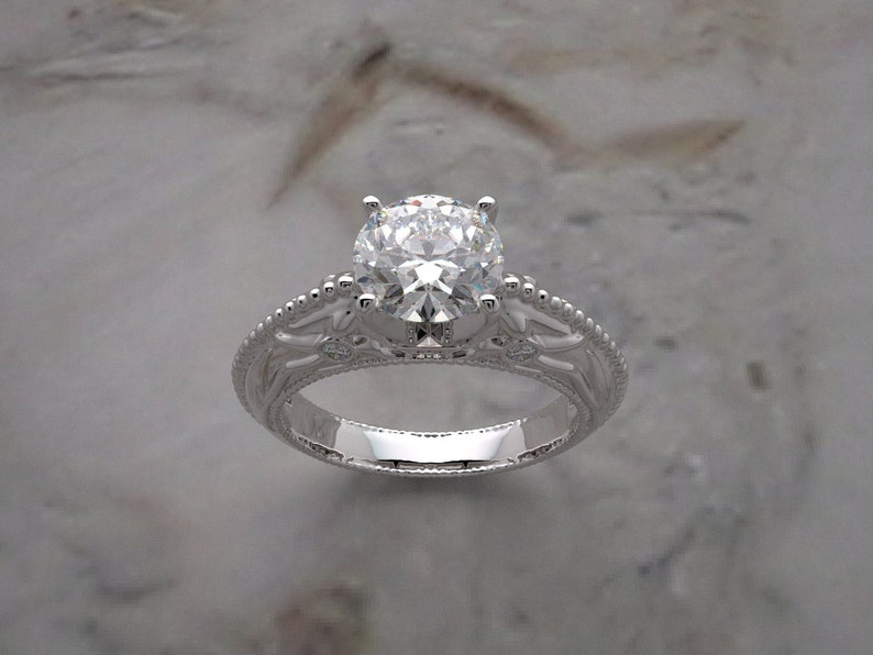 14K Ring Setting Organic Deco Design Diamond Accents Made In image 0