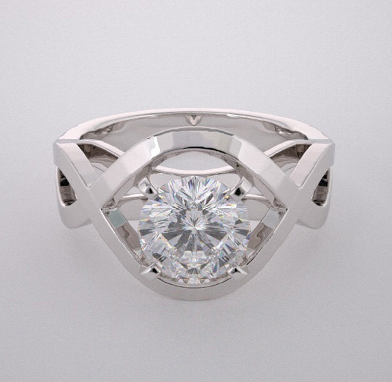 14K Ring Settings Architectural Design Engagement Ring or image 0