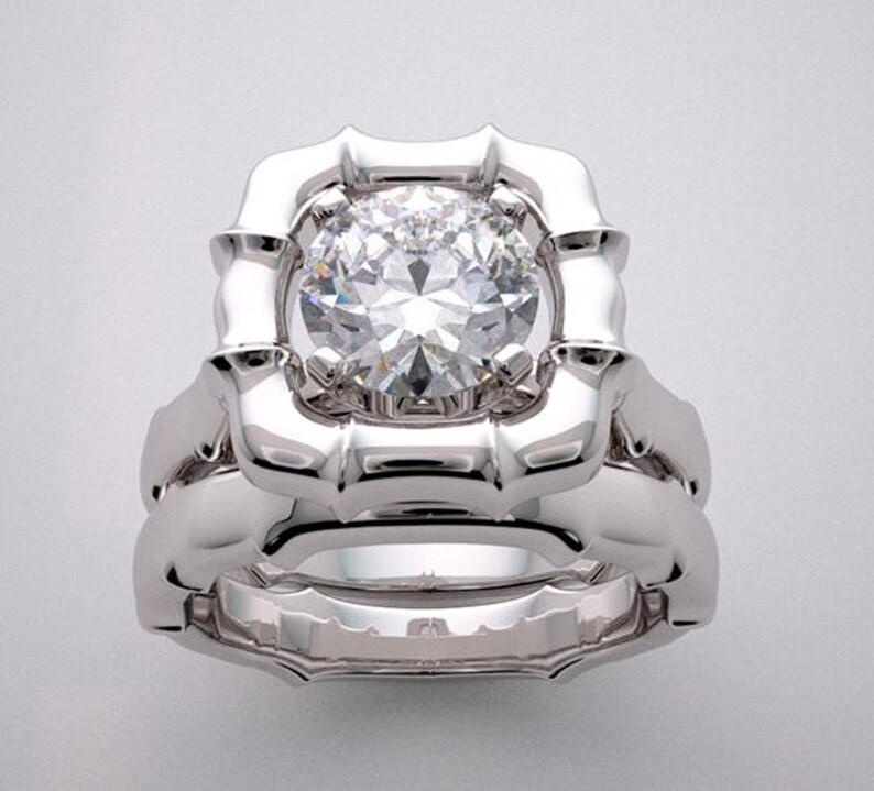 Bridal Ring Setting Suite Romantic Gold Bamboo Design image 0
