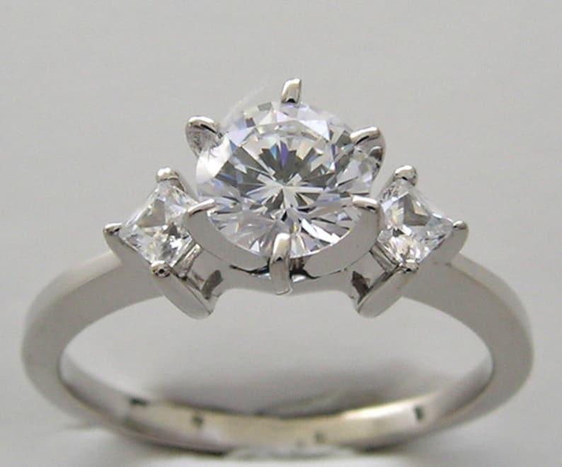 Diamond Engagement Ring 14K White Gold TDW  0.45 Ct. Made In image 0