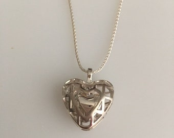 Sterling Silver Heart Pendant Necklace Heavy Weight With 16 Inch Chain Made In America