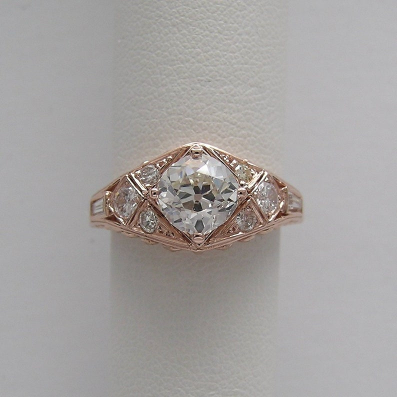 SUMMER SALE Antique Style 14K Pink Gold Diamond Engagement image 0