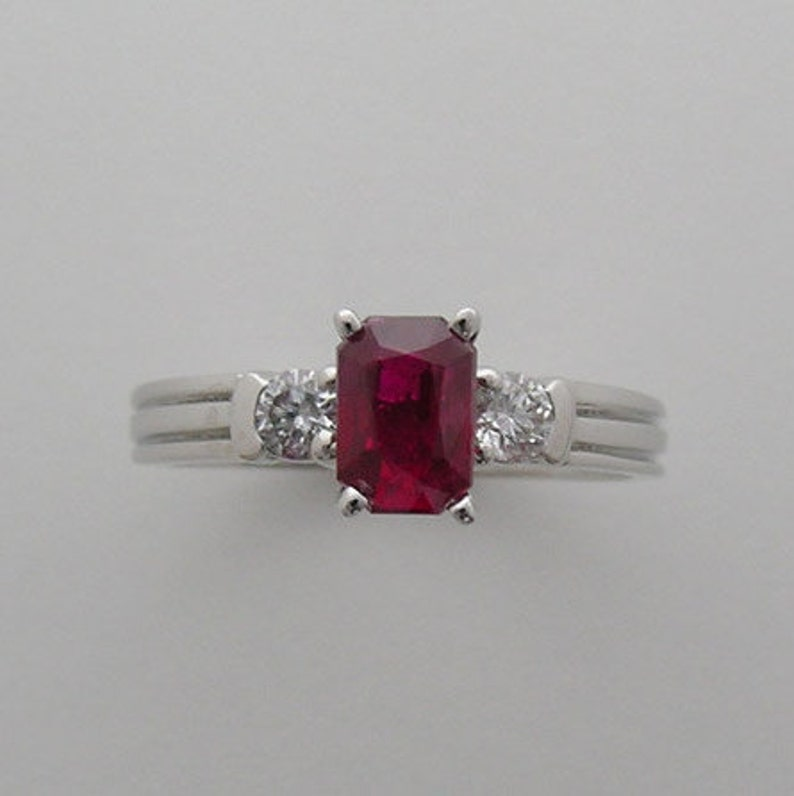 Valentine Ruby and Diamond Engagement Ring Made In The USA One image 0