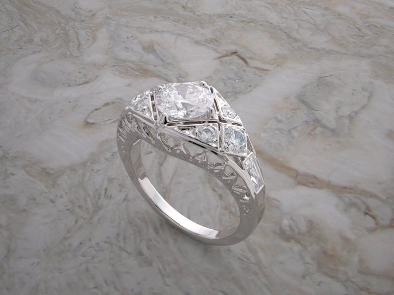 Antique Art Deco Styling Ring Setting With Diamond Accents image 0
