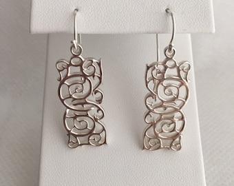 Sterling Silver Swirl Design Hanging Earrings Hook Wire Sterling Tops
