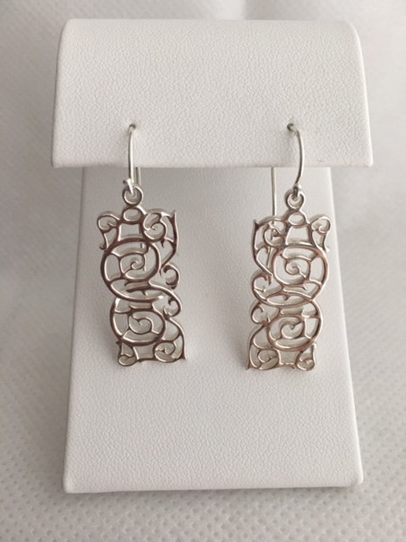 Silver BOHO Swirl Design Oblong Hanging Earrings French Wire image 0
