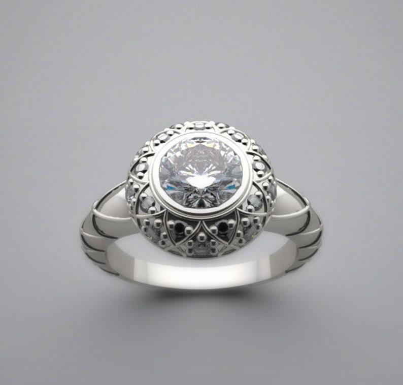 Engagement Ring Setting Artistic Feminine Details With Diamond image 0