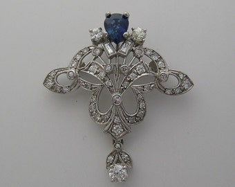 SUPER SALE Special Antique Gold Art Deco Pin/Pendant Sapphire 2.10 Cts.,  Diamond 1.57 Cts. White Gold Chain Jewelry Appraisal With Purchase