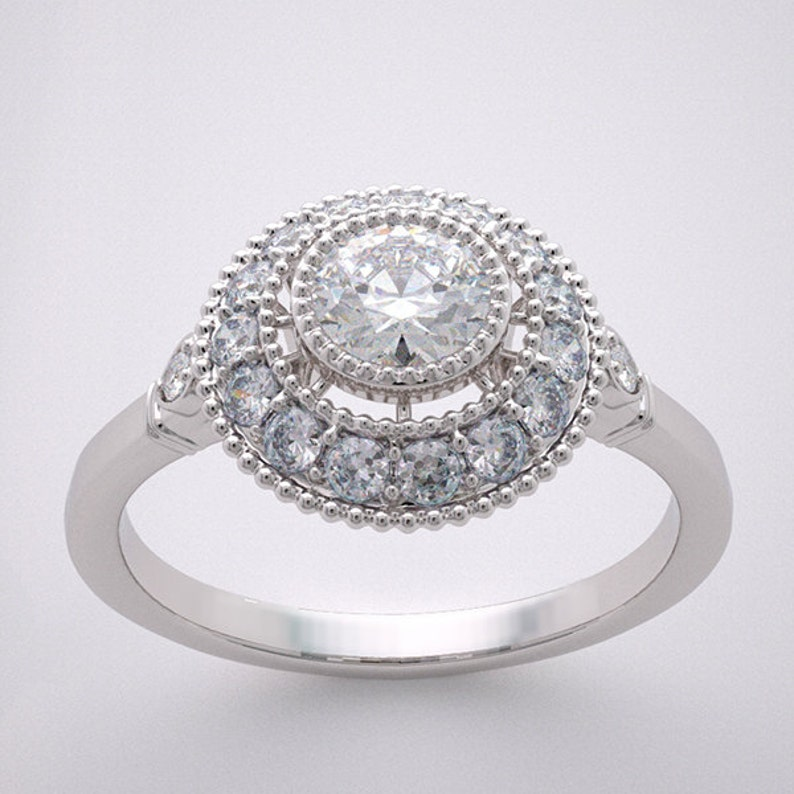 14K Diamond Engagement Ring Design Round Full Cut Diamond 0.28 image 0