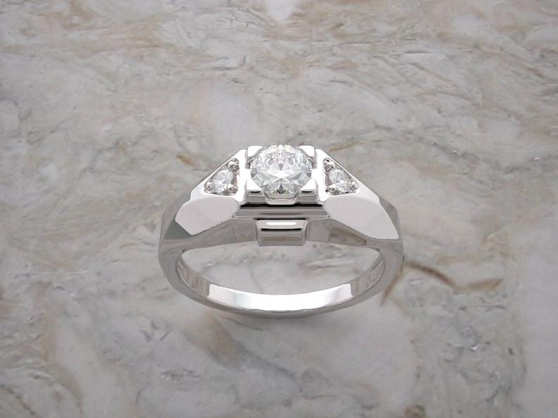 14K White Gold Three Stone Elegant Diamond Ring Made In The image 0