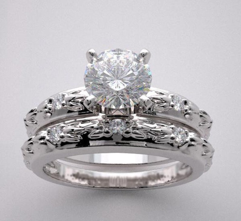 Wedding Ring Setting Set With Matching Wedding Band Diamond image 0