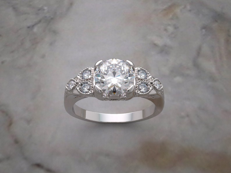 14K Gold Art Deco Style Engagement Ring Setting image 0