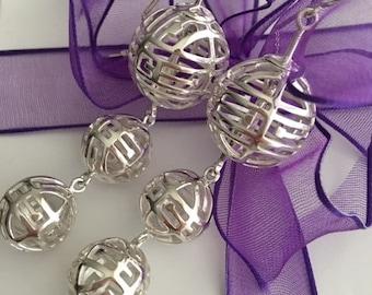 Unique Custom Design Sterling Silver Triple Hanging Swinging Long Earrings Made In America