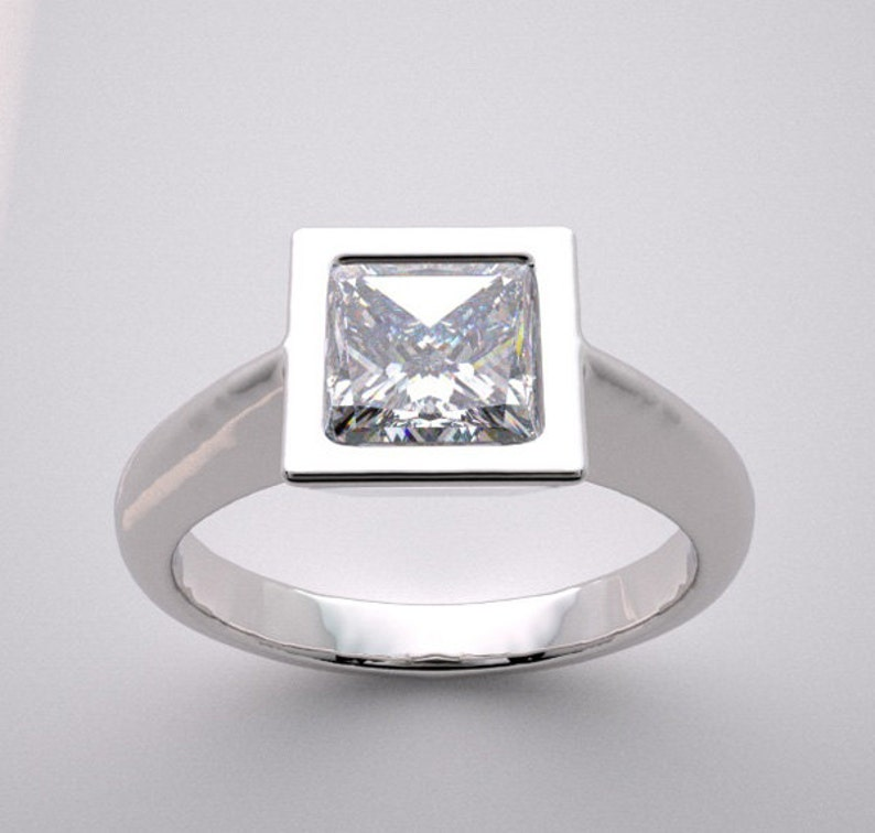 Custom Conteporary Engagment Ring Setting Princess Bezel image 0