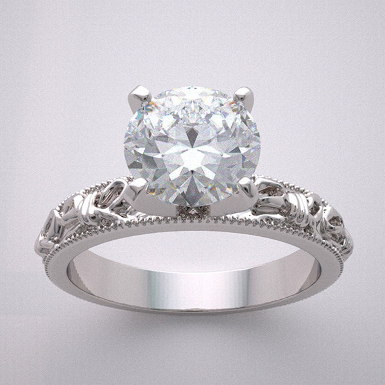 14K Engagement Ring Setting Romantic Feminine Love Knot Bow image 0