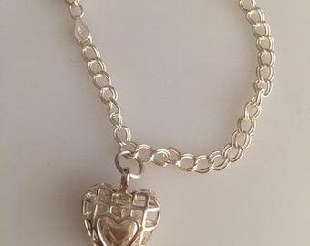 Special SALE Sterling Silver Bracelet Heart within a Heart Charm Made In America
