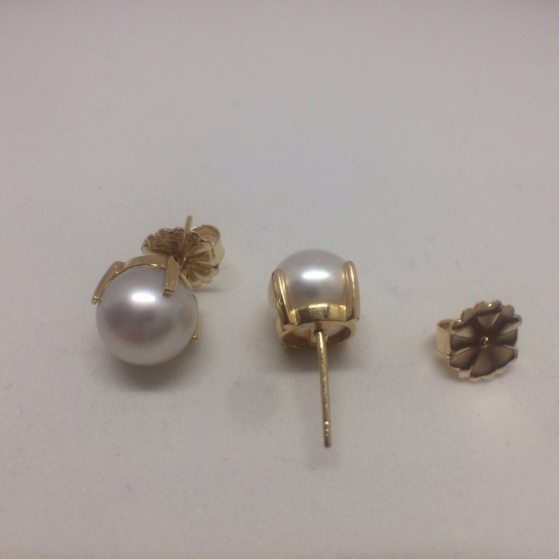 SALE Genuine Pearl Stud Earrings 10.5 MM 18K Yellow Gold Great image 0