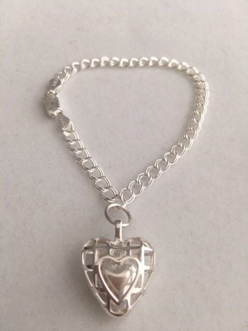 Sterling Silver Bracelet Heart within a Heart Charm image 0