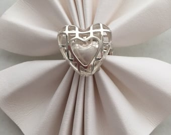 Special Sterling Silver Heart Ring Heart Within a Heart Ring Shank Adjusts To Size Made In America