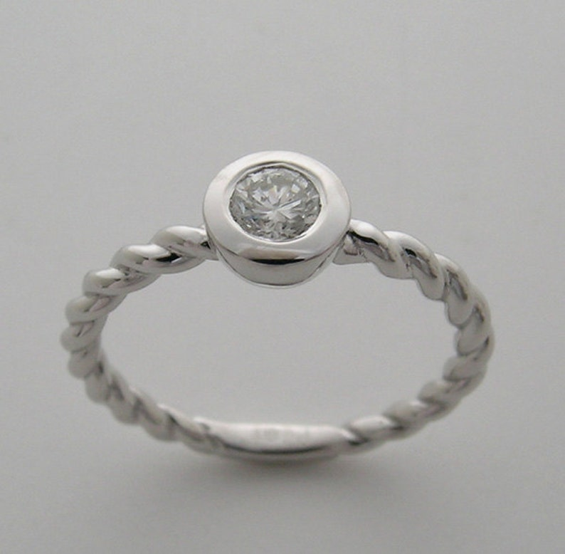 SALE Love Ring 14K Twisted White Gold Bezel Diamond Ring Pre image 0