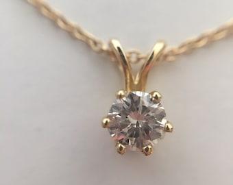 SALE Solitaire Round Diamond Pendant 0.26 Ct., G/H - VS 14K Yellow Gold - VS  Appraisal Will Accompany Purchase
