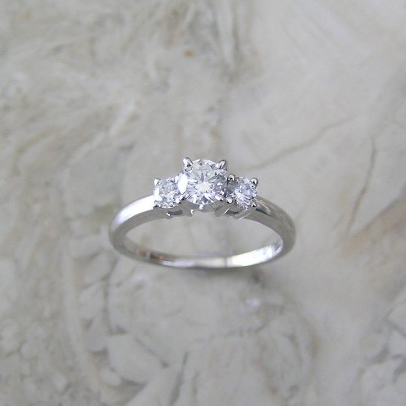 Special White Gold Diamond Engagement Ring 14K Total Diamond image 0