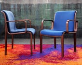 RESERVED PAIR Avail. 1305-U Gorgeous Blue Knoll Bentwood upholstered MCM Mid Century Danish Modern Bill Stephens Armchair Chair 60s 70s