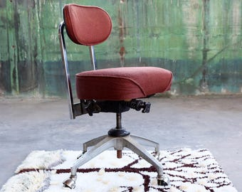 Beautiful MINT condition Chrome Vintage Industrial Mid Century Modern Red Rolling Office Chair fully adjustable Danish Modern casters wheels & Office chair | Etsy