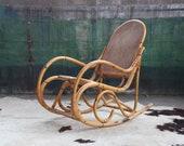 RARE Mid Century Rocking Chair Rocker Lounge Rattan Wicker Cane Bamboo BOHO Hollywood Regency Bohemian Danish 60s 70s