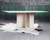 BEAUTIFUL Solid TRAVERTINE Post Modern Pedestal Dining Table Mid Century Modern Hollywood Regency McM Danish Modern 70s 80s Marble
