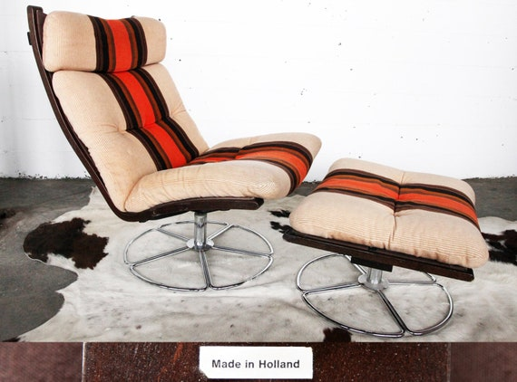 Super Rare Original Mid Century Post Modern 70S Jan Des Bouvrie Mathsson Lounge Chair Ottoman Footstool Sweden Netherlands Dutch Swedish Mcm Gmtry Best Dining Table And Chair Ideas Images Gmtryco