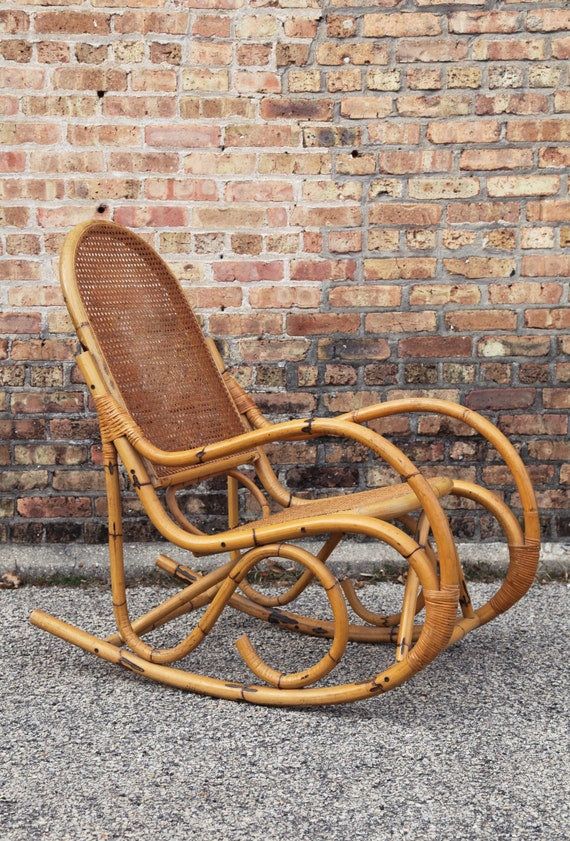 Pleasing Rare Mid Century Rocking Chair Rocker Lounge Rattan Wicker Cane Bamboo Boho Hollywood Regency Bohemian Danish 60S 70S Gmtry Best Dining Table And Chair Ideas Images Gmtryco