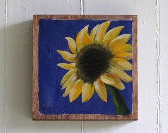 Hand Painted Sunflower 6x6 Art Block