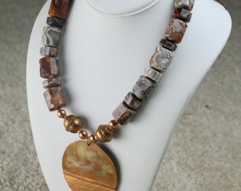 Chunky Mexican Crazy Lace Agate Beaded Necklace with Hand Forged Brass Pendant