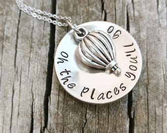 OH THE PLACES You'll Go - gift for grad, Graduation Gift, graduation Dr. Seuss quote, graduation necklace, grad gift for her
