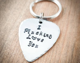 I Plucking Love You Hand Stamped Guitar Pick Keychain