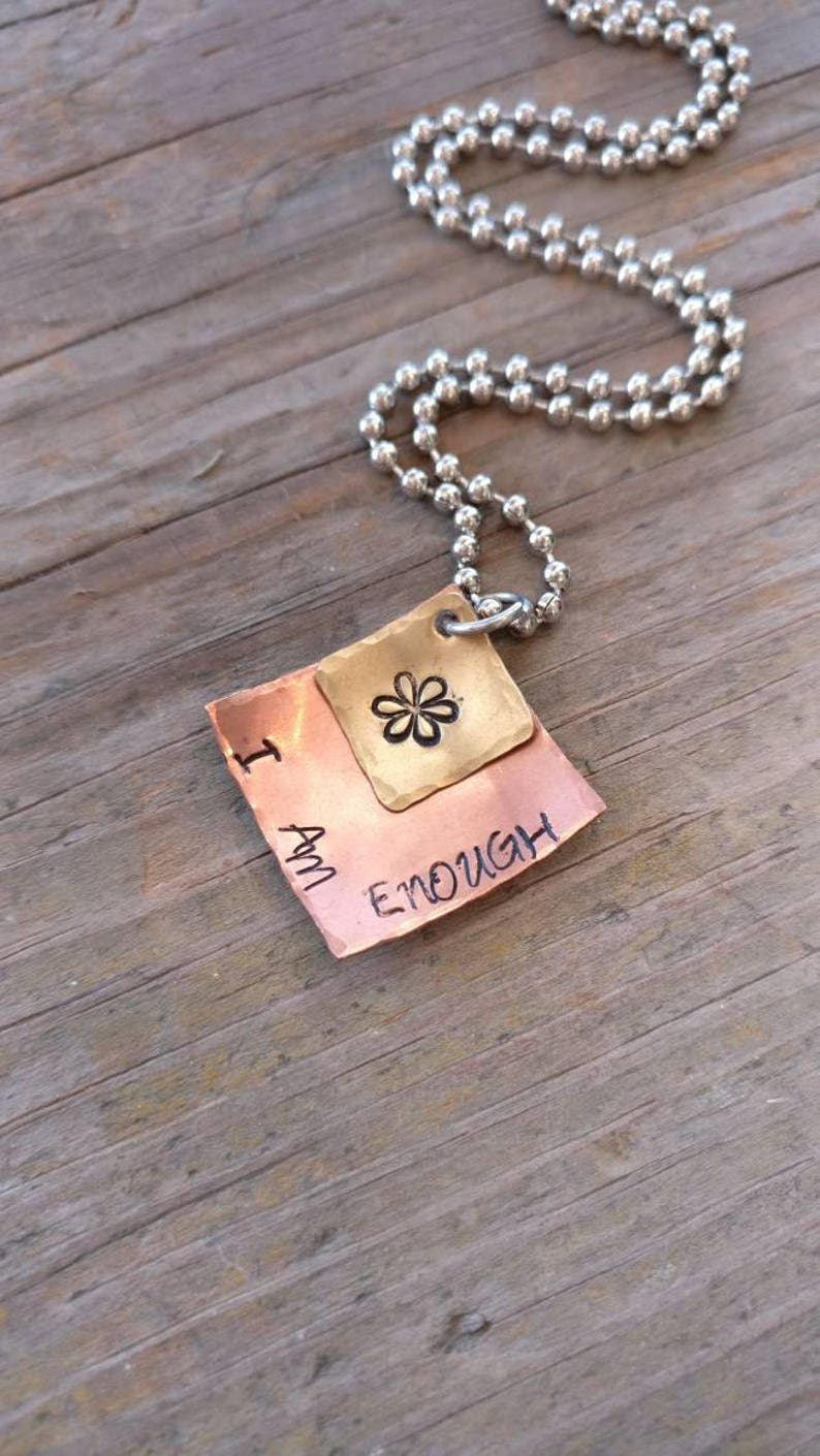 I AM ENOUGH Hand Stamped Mixed Metal Necklace Brass Layered Necklace Copper encouragement gift Inspirational Gift