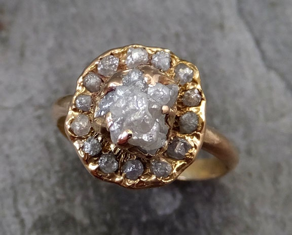Raw Diamond Halo Engagement Ring Rough 18k Rose Gold Wedding