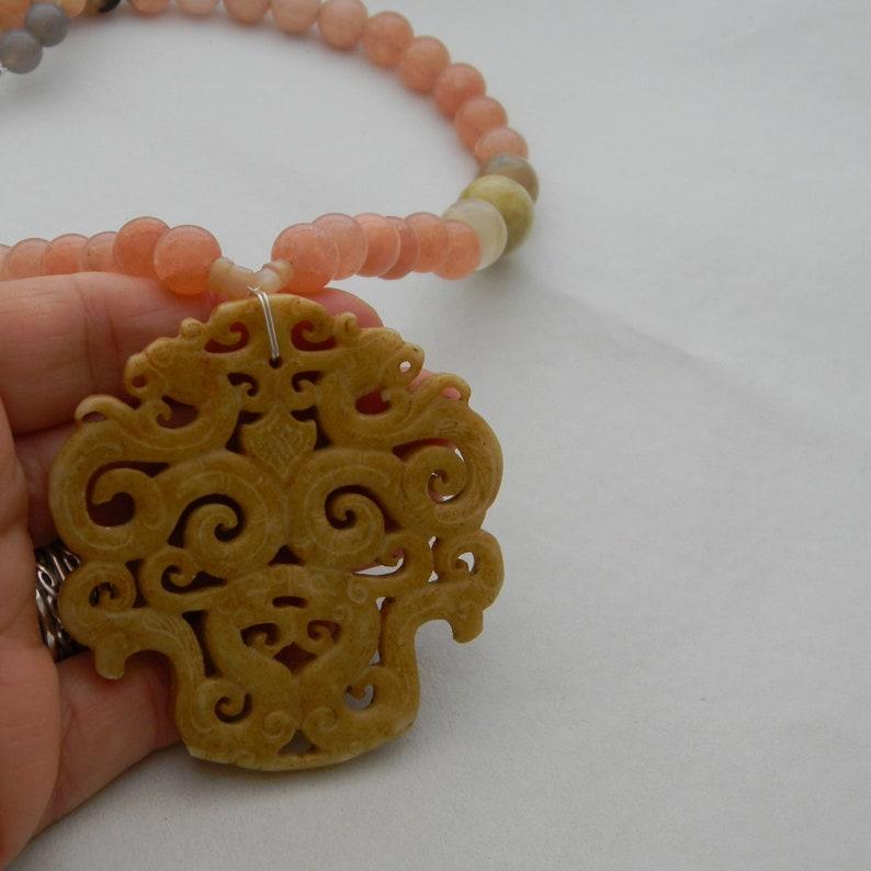 Jade pendant on jade beads necklace beaded dyed jade necklace necklace for women jade double Phoenixes /& dragons pendant jade jewelry