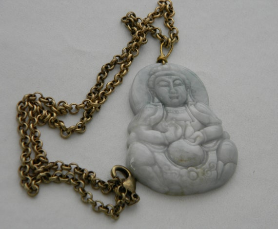 Bodhisattva Jade Kwan Yin /& oxidized brass chain necklace Senju Kannon large yellow jade Goddess of Mercy Buddhist religious icon