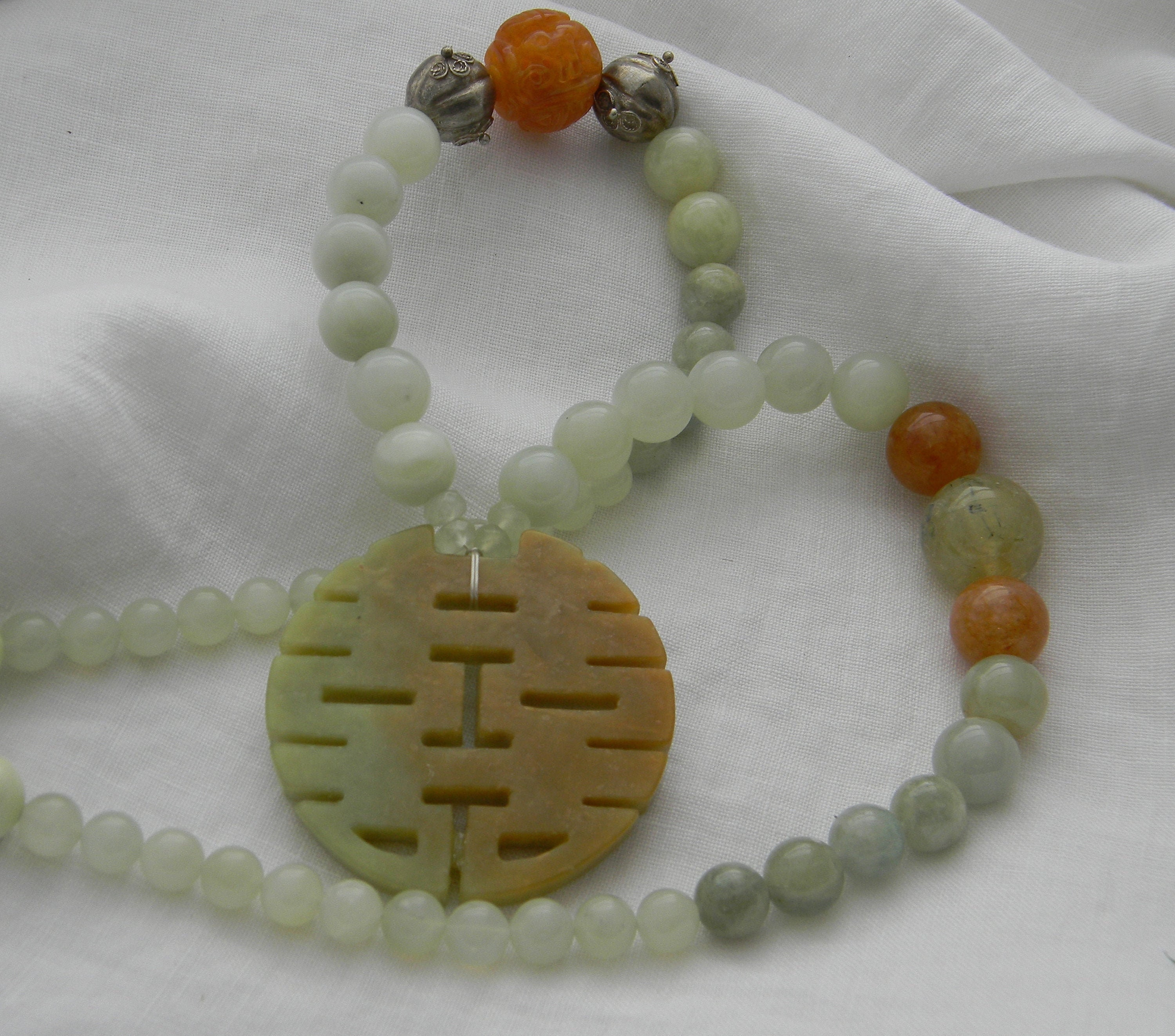 Asian Chinese Style Necklace Unique Apricot Faceted Agate Beads WHITE JADE DRAGON Pendant One of a Kind. Carnelian Beads