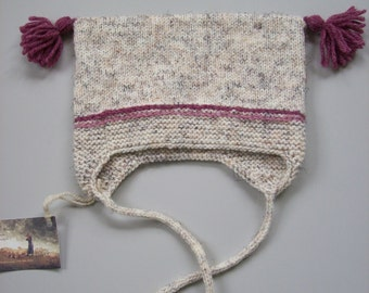 Hand Knit Girls Baby Hat with earflaps and tassels to fit 6 month to year-old child