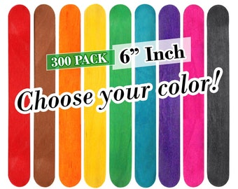 10-Inch Assorted Color 10-Piece Gigantic Wooden Craft Popsicle Sticks