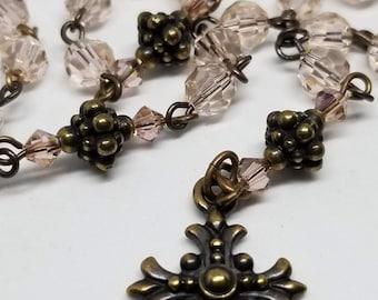 Rosary - Pink-ish Swarovski Crystals - Handmade by MartinMade BeadThings