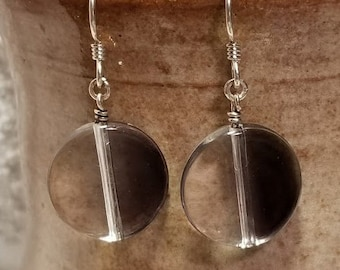Handmade Earrings - Sterling Silver French Hook Earwires with Clear/Smoky Coin-Shaped Drops