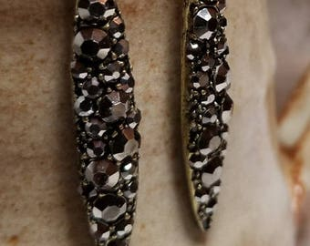 Handmade Earrings - Brass/Dark Silver Faceted Drops on Hypoallergenic Niobium Earwires