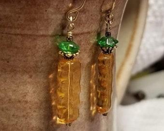"Handmade Earrings - 14K Gold-filled Ear Hooks w/ Beaded ""Pineapple"" Rendition"