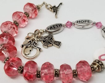 Rosary Bracelet - Breast Cancer Awareness - Silver Plated Findings - Handmade by MartinMade