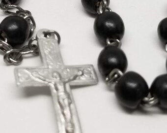 Vintage Catholic Rosary - Silver Tone with Black Round Beads, 16 inches tall